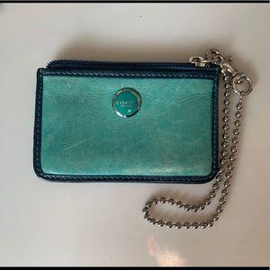 Coach card wallet with zipper enclosure